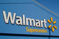 Walmart Store Sign. TRURO, CANADA - FEBRUARY 9, 2018: Walmart store sign. Walmart is an American corporation with chains of department and warehouse stores Stock Photo