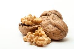 Walnut. Close-up of a walnut on white background royalty free stock photo