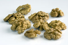 Walnut. Kernels of the cleared walnuts Royalty Free Stock Photos