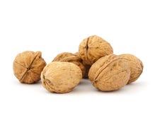 Walnut. Pile isolated on white background Royalty Free Stock Photos