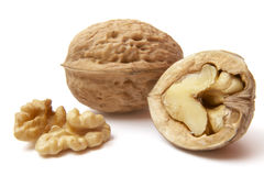 Walnut 4. Close up of walnut on white background  with clipping path, shadow not included Royalty Free Stock Photography