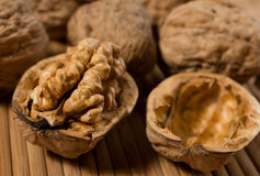 Walnut. Halved walnut with other walnuts in background Stock Image