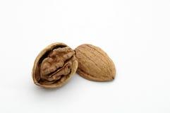 Walnut. Cracked walnut isolated on a white background Royalty Free Stock Photography