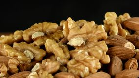 Walnut Almond and Measurement Macro View 1. Video stock video footage
