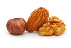 Walnut, almond nut, and hazelnut Stock Photo