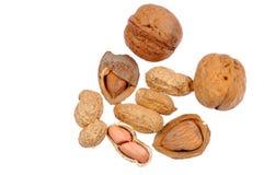 Walnut, almond , peanut. Shelled walnuts, almonds and peanuts Stock Images
