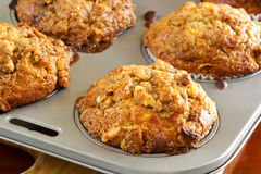 Walnut and Banana Muffins. In a baking tray.  Delicious, wholesome eating Royalty Free Stock Image