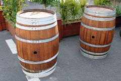 Walnut barrels for decoration royalty free stock photography