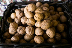Walnut in basket Royalty Free Stock Photos