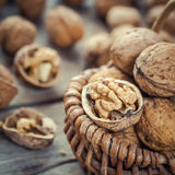 Walnut in basket close up Stock Photo