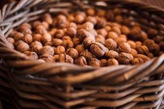 Walnut in basket. Closeup background royalty free stock photography
