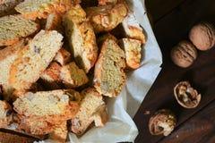 Walnut biscotti. Italian-style walnut cookies biscotti Royalty Free Stock Image