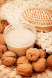 Walnut body scrub Stock Photo