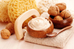 Walnut body scrub Royalty Free Stock Images