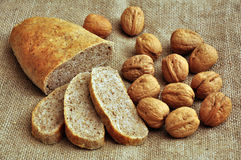 Walnut bread. Walnut made bread with walnuts over jute cloth Stock Photography