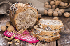 Walnut Bread. (fresh baked) on dark vintage wooden background Royalty Free Stock Photography