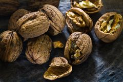 Walnut with broken shell piled up Stock Photography