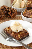 Walnut brownie with ice cream Stock Image
