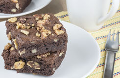 Walnut Brownies Stock Photo