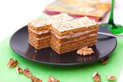 Walnut cake. Delicious walnut cake from Hungary Stock Photos