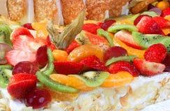 Walnut cake with fresh fruit Royalty Free Stock Photography
