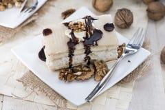 Walnut Cake with Marzipan Royalty Free Stock Photo