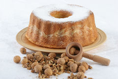 Walnut cake with nuts in front Royalty Free Stock Photos