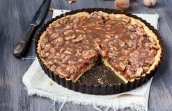 Walnut caramel tart Royalty Free Stock Photography