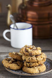 Walnut Chili Cookies and Coffee Mug Royalty Free Stock Photos