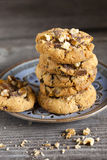 Walnut Chili Cookies Stacked on a Plate Royalty Free Stock Photos