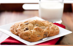 Walnut and chocolate chip cookies Stock Photos