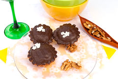 Walnut-chocolate cookies Stock Images