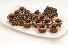 Walnut and chocolate muffins Royalty Free Stock Image