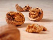 Walnut closeup. Cracked walnuts royalty free stock photo