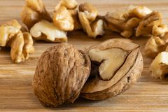 Cracked walnut in-front of other walnuts royalty free stock images