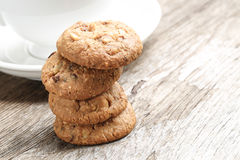 Walnut Cookies  with Coffee Break Royalty Free Stock Images