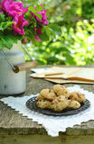 Walnut cookies on garden table Royalty Free Stock Photos