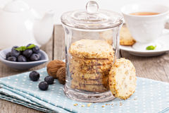 Walnut cookies in a jar Royalty Free Stock Image