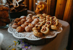 Walnut cookies on a tray Stock Photos