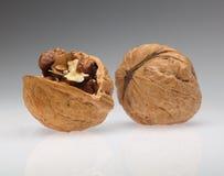 Walnut  and cracked walnut. Full and cracked walnuts isolated on grey background Royalty Free Stock Image