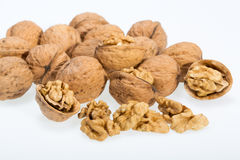 Walnut and a cracked walnut Stock Images