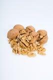 Walnut and a cracked walnut Stock Photography