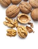 Walnut and a cracked walnut Stock Photo