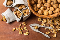Walnut cracking and sorting them into bags Stock Photos