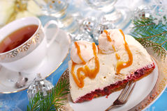 Walnut cream cake with meringue and caramel sauce for christmas Royalty Free Stock Photos