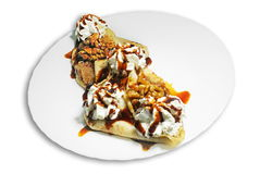 Walnut and cream crepes Stock Image