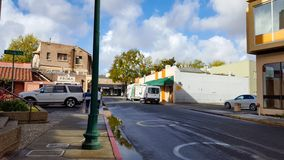 Walnut Creek Downtown. Walnut Creek, California, United States - October 17, 2016:  Sidestreet with cars in downtown Walnut Creek, California on a sunny day Royalty Free Stock Photos