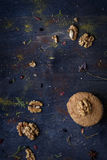 Walnut dessert, cinnamon and nuts on the table. Bakery backgroun Royalty Free Stock Photo