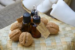 Walnut essential oil Stock Image
