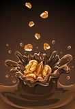 Walnut falling into the chocolate splash Royalty Free Stock Photos